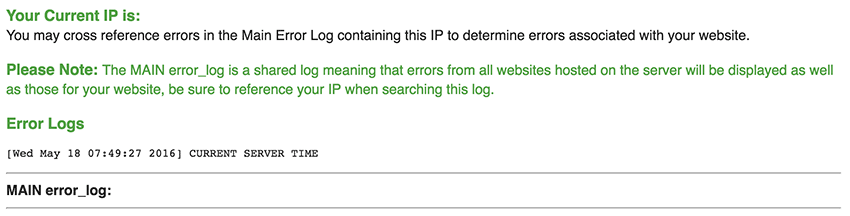 The Main Error Log