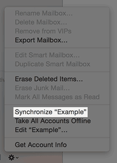 The synchronize option in mail.