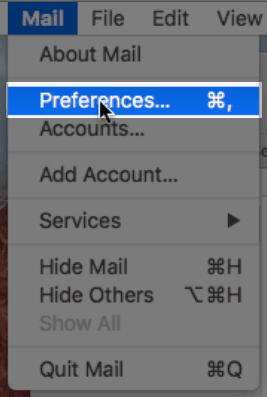 The mail menu with the preferences option.