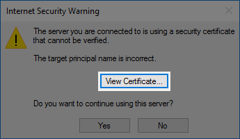 The View Certificate button.